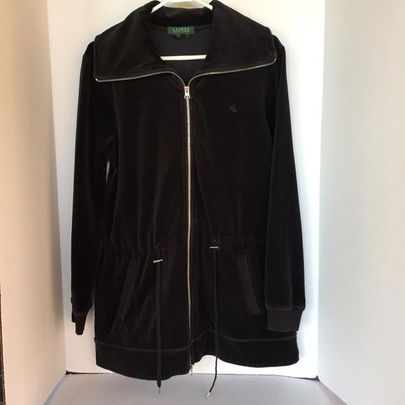 a6c50d16527f Ralph Lauren Jackets & Coats | Black Velvet Zip Up Draw String Waist ...